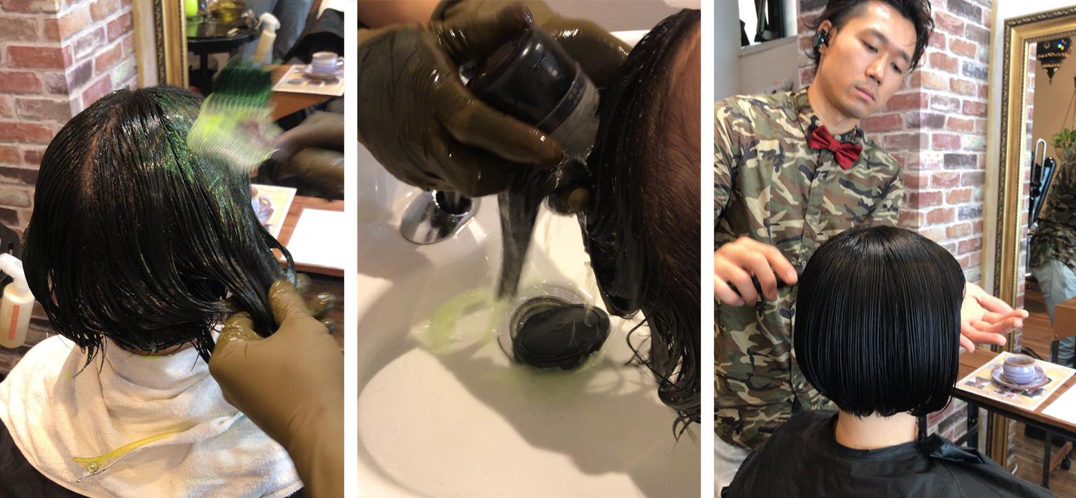 画像:還元剤を塗布しているところ(左)還元剤を洗っているところ(中央)椅子に座るAnn(くせ毛はリセット済み)