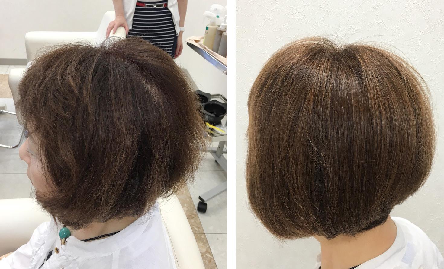 画像:加齢による『髪質変化』でクセが強くなり傷んだように見えるボブカット女性、サイドの施術前(左)施術後(右)