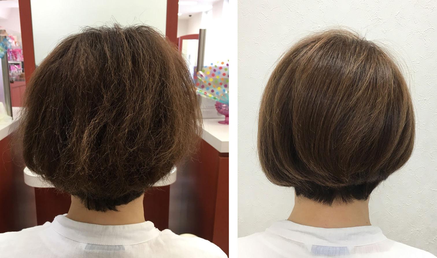 画像:加齢による『髪質変化』でクセが強くなり傷んだように見えるボブカット女性、バックの施術前(左)施術後(右)